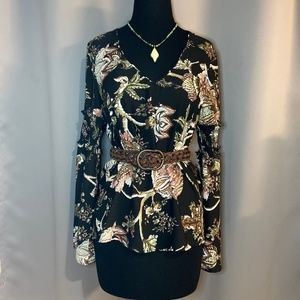 Bell Sleeve Boho Blouse Tunic Floral Print NWT